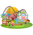 an outdoor funfair scene vector image vector image