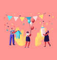 bashower event tiny characters holding gifts vector image vector image