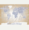 bitcoin cryptocurrency map worldwide vector image
