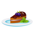 blackberry cake with mint on the plate vector image