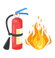 bonfire and fire extinguisher vector image