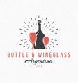 bottle and wine glasses vintage retro design vector image