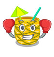 boxing pineapple juice garnished with on cartoon vector image