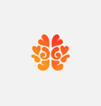brain from hearts logo design template in vector image