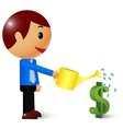 Businessman watering a money tree vector image