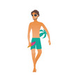 cartoon beach man sunglasses ball ice cream vector image vector image