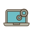 cartoon laptop technology gears colaboration work vector image