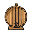 cartoon old wooden barrel with tap hand drawn vector image