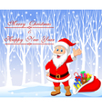 Cartoon Santa clause with winter background vector image vector image
