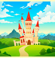 castle landscape palace fairytale kingdom magical vector image vector image