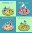 children playground isometric compositions vector image