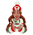 christmas girl with hot chocolate in her hands vector image