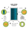 colorful poster of data center service with rack vector image vector image