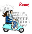 couple driving scooter in rome vector image vector image