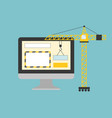 crane working with website page in computer vector image