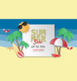 creative summer sale banner background paper cut vector image vector image