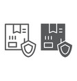 delivery protection line and glyph icon cargo and vector image vector image