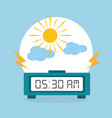 digital clock alarm morning cloud sun vector image vector image