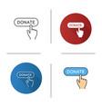 donate button click icon vector image vector image