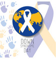 down syndrome day blue and yellow world ribbon vector image vector image