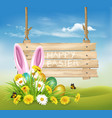easter holiday background with colofrul eggs and vector image vector image