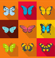 forest butterfly icons set flat style vector image vector image