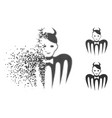 fractured pixel halftone devil spectre icon with