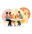 friends meeting in pizzeria or fast food vector image