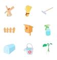 Garden items icons set cartoon style vector image vector image