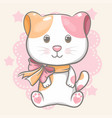 hand drawn happy cute cat for kids vector image