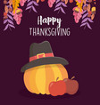 happy thanksgiving day apples and pumpkin with vector image vector image