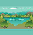 hills landscape in flat style design valley with vector image vector image