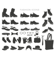 icons and items clothing silhouettes vector image