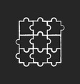 jigsaw puzzle chalk white icon on black background vector image