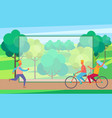 man on skate rollers and couple on bicycle in park vector image vector image