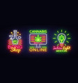 marijuana medical logos collection neon vector image