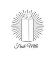 milk box in beams milk bottle label vector image vector image