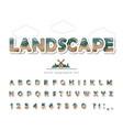modern landscape font paper cut out abc letters vector image vector image