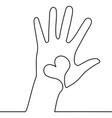 one continuous line hand with heart concept vector image vector image