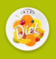 plate with weight scale and fruits vector image vector image