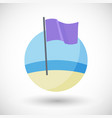 purple beach flag flat icon vector image vector image