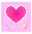 Red textile heart with lace needle and button vector image