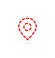 red thin line dotted map pin vector image