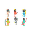 robots different professions collection doctor vector image