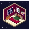room interior in isometric style bedroom vector image