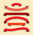 set of red ribbons on dotted background vector image vector image