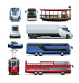 set public transport vector image
