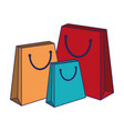 shopping bags isolated blue lines vector image vector image