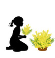 silhouette girl holds mimosa mothers day vector image vector image