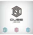 Technology Business abstract cube logo design vector image vector image